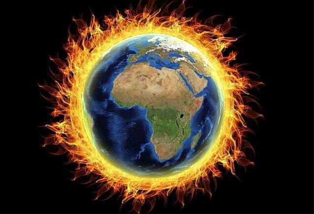 ilustração da Terra sob aquecimento global