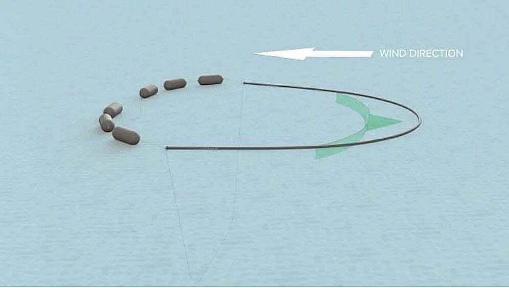ilustração de sistema para recolher plástico da grande mancha do Pacífico