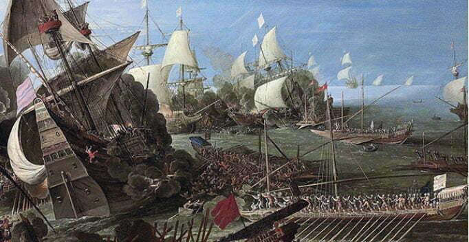 imagem da A batalha de Lepanto na visão do pintor Andries van Eertvelt