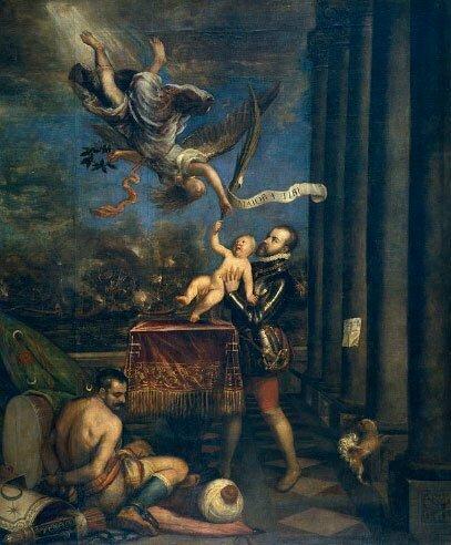 alegoria de felipe II e seu filho ao tempo da batalha de Lepanto.
