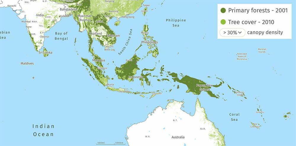 mapa das florestas tropicais da asía e Oceania