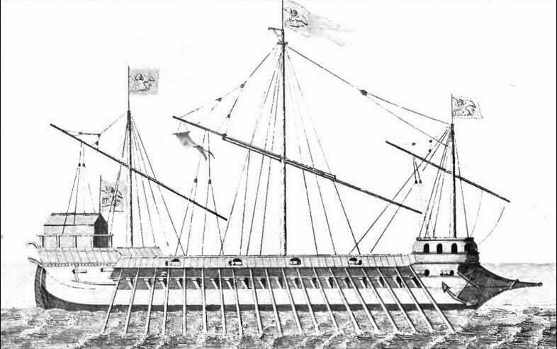 desenho de galera veneziana ao tempo da batalha de lepanto