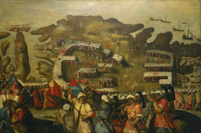 imagem da frota do império otomano chegando em Malta.