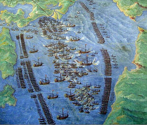 imagem de Afresco do vaticano mostrando a formação na Batalha de Lepanto.
