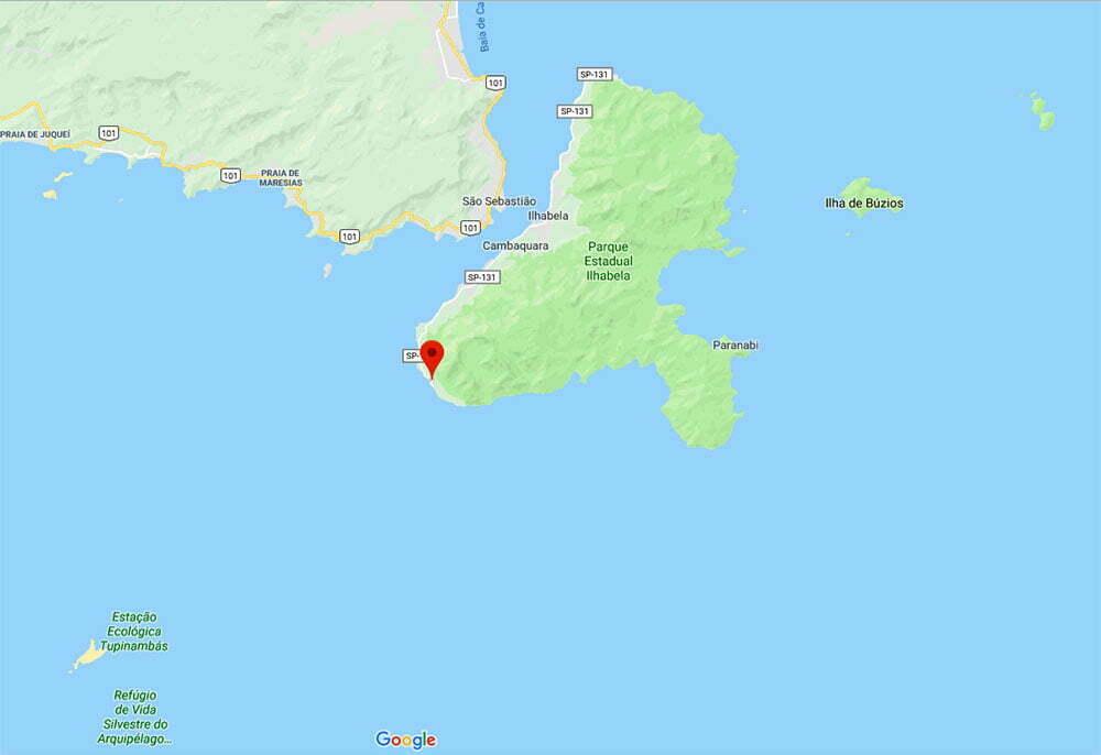 mapa da região de Borrifos, em Ilhabela