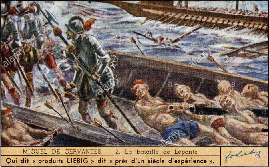 pintura de miguel de cervantes na batalha de Lepanto