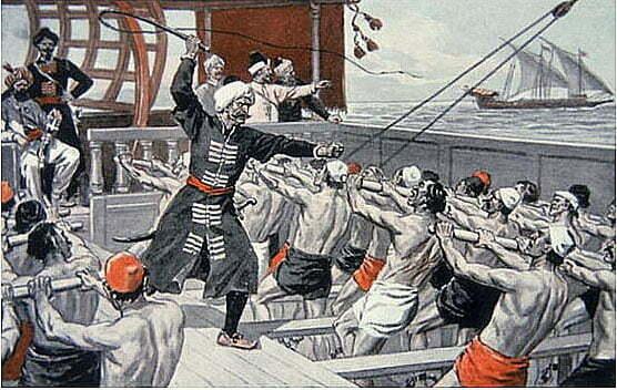 imagem de remadores das galeras otomanas