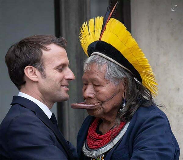 imagem do presidente Macron e o cacique rani