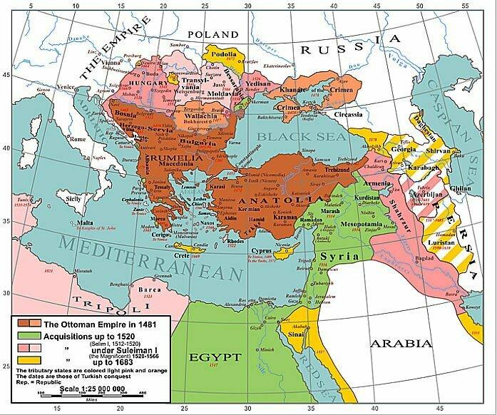 mapa do império otomano em 1520