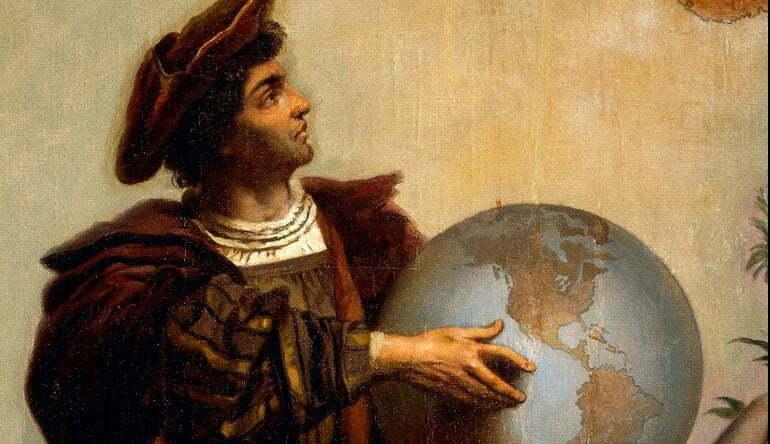 pintura de Colombo segurando um globo terrestre