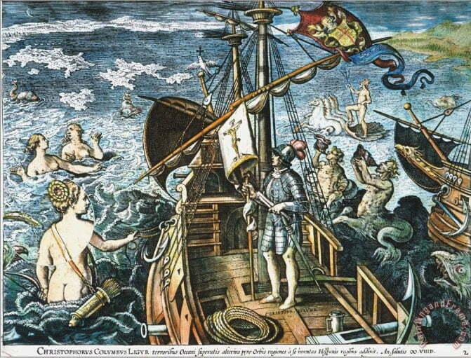 imagem de gravura alusiva às navegações de Cristóvão Colombo