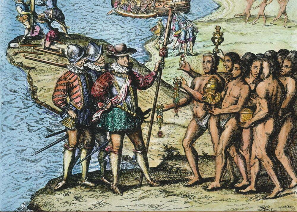 imagem de gravura antiga alusiva à chegada de Cristóvão Colombo na América