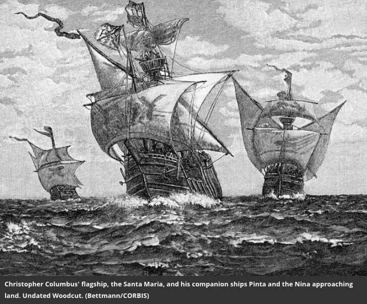 ilustração da frota de Cristóvão Colombo, Santa Maria, Pina e Nina
