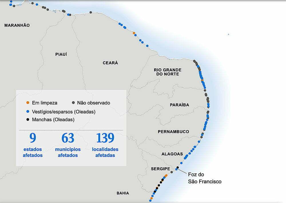 mapa do Brasil com marcação das manchas de óleo que vazaram no Nordeste