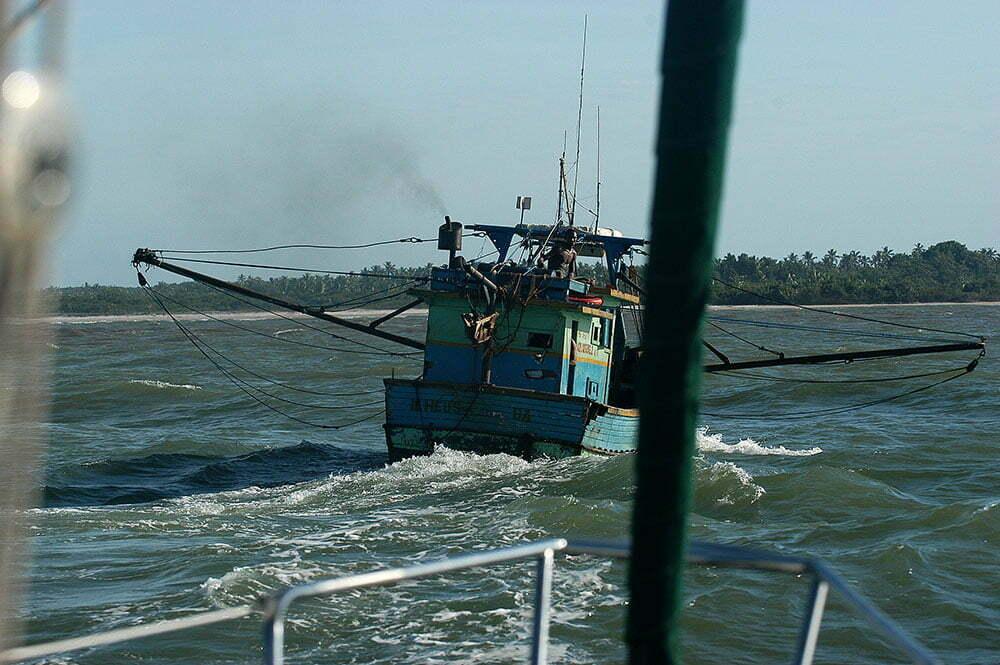 imagem de barcos de pesca entrando em Canasvieiras