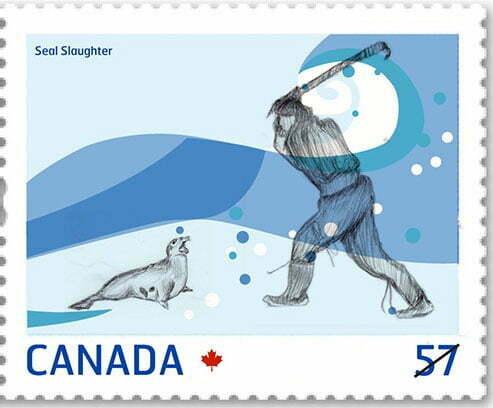 imagem de selo canadense que mostra caça das focas