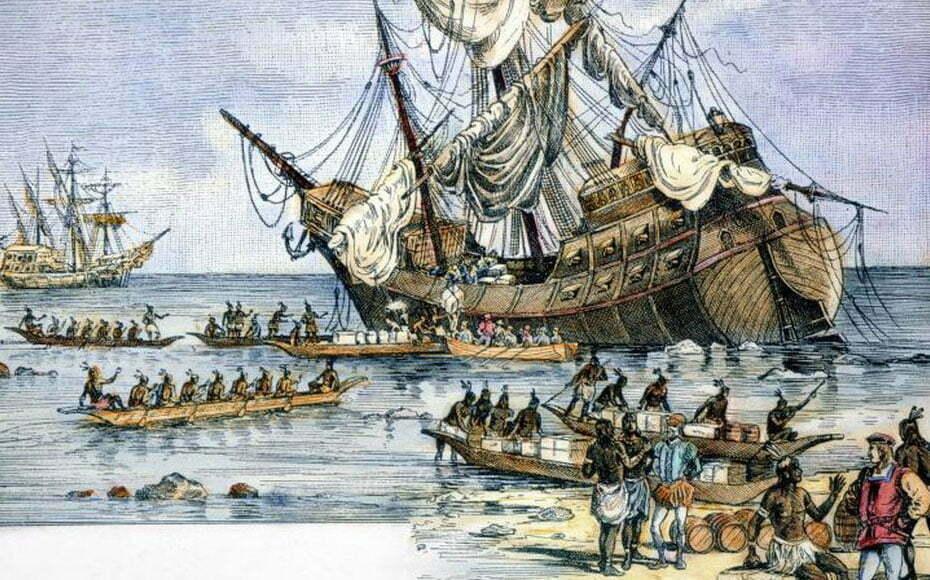 desenho antigo mostra encalhe da nau santa maria