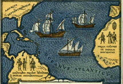 gravura alusiva a viagem de Cristóvão Colombo