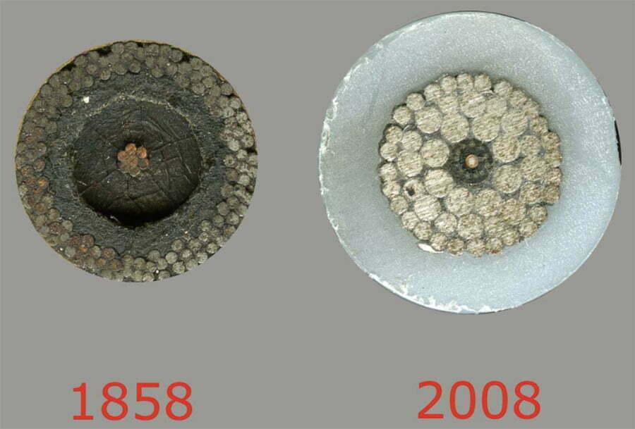 imagem de cabos submarinos de 1858 e 2008