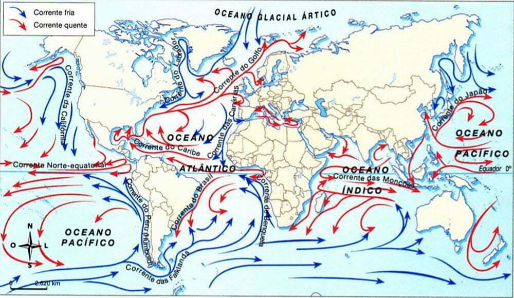 mapa mundi com as correntes marinhas