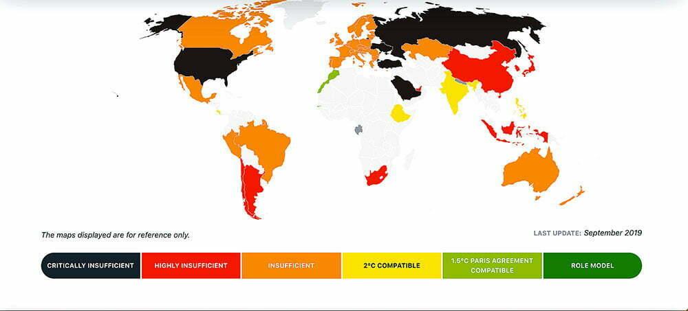 Mapa mundi mostra países e suas metas do acordo de Paris