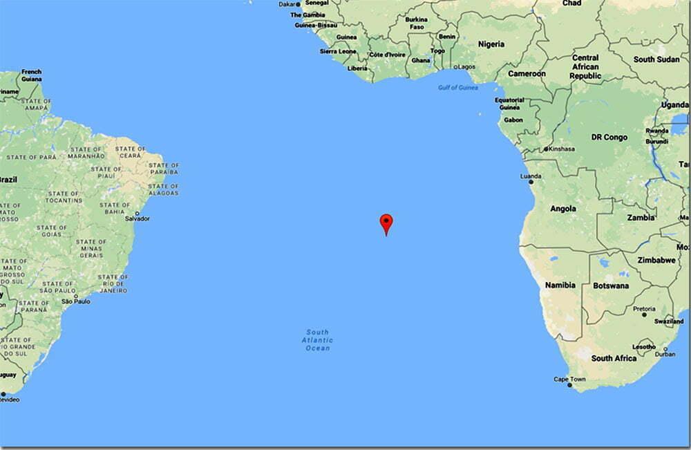 mapa com posição da ilha de Santa Helena