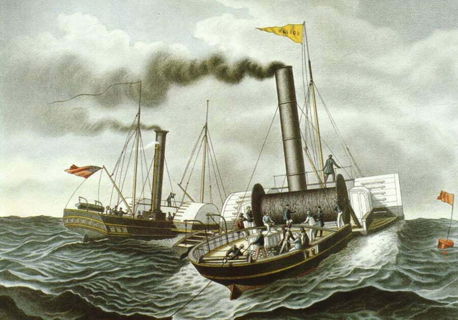 desenho do navio Goliath, o primeiro a instalar cabos submarinos