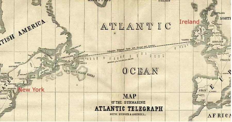 mapa mostra instalação do primeiro dos cabos submarinos ligando Europa e Estados Unidos