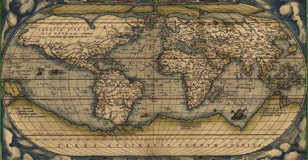 desenho de mapa mundi antigo que assinala a ilha de Santa Helena