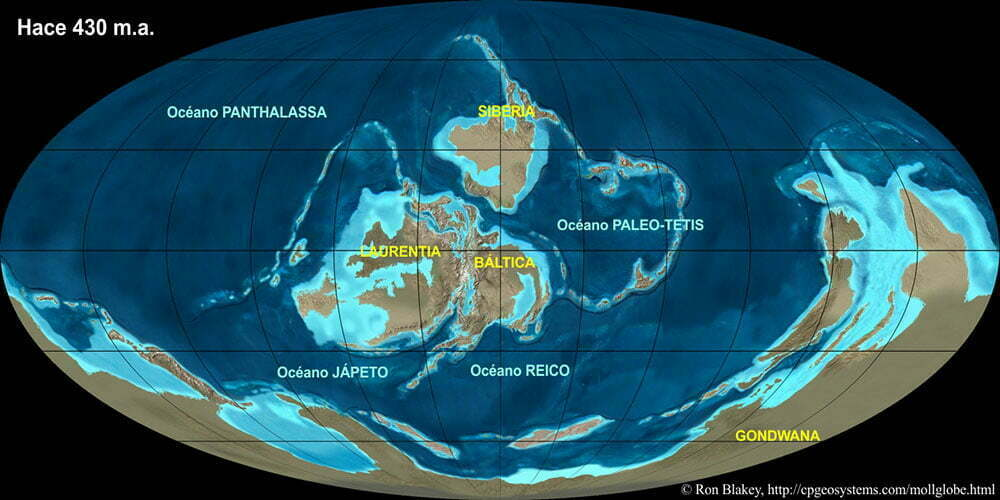 imagem de mapa mundi há cerca de 400 milhões de anos