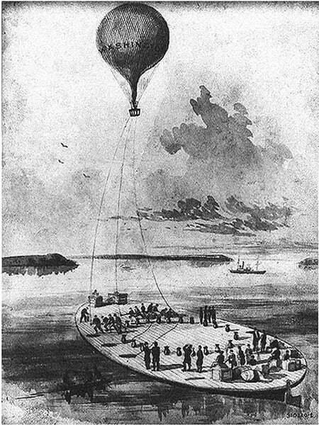 imagem de balão que precedeu os porta-aviões