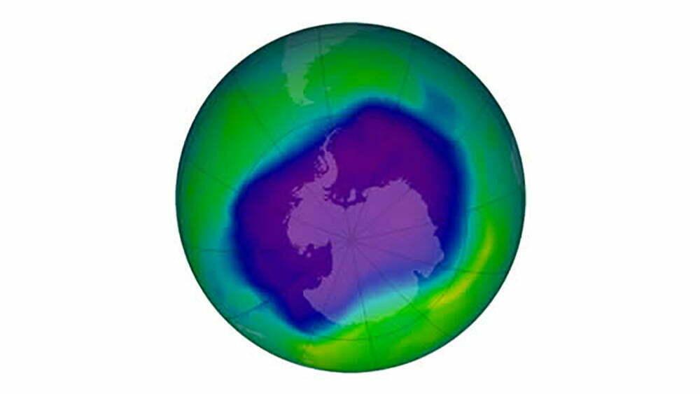 infográfico do buraco da camada de ozônio