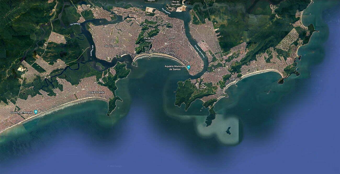 mapa do estuário de Santos