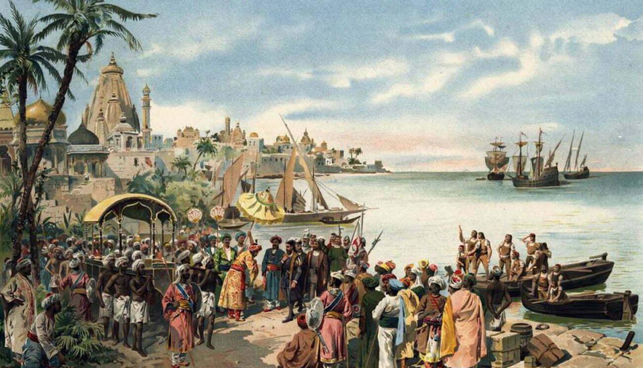 gravura de Goa ao tempo da chegada de Vasco da Gama