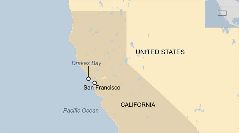 mapa da praia da Califórnia onde acharam peixe pênis