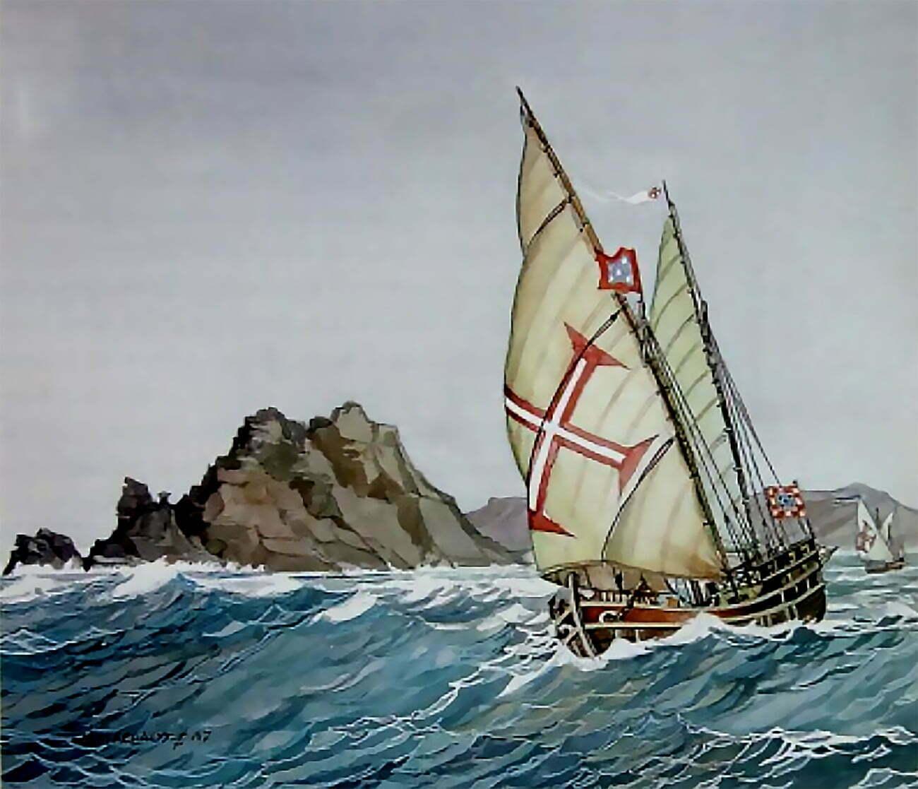 gravura de caravela em mar bravo