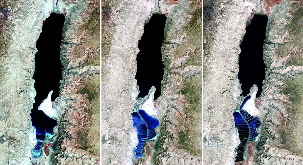 imagen sed satélite do Mar Morto