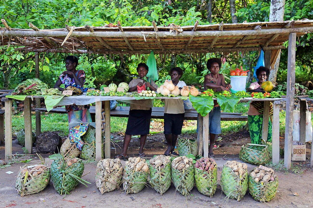 mercado tradicional de rua em Bougainville