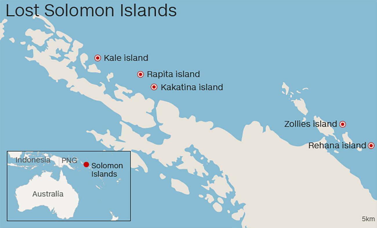 imagem de ilhas que desaparecem nas ilhas Solomon