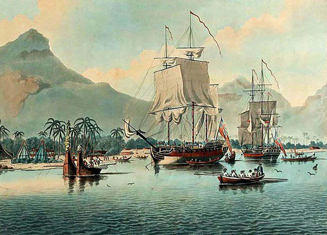 desenhos dos navios de James Cook