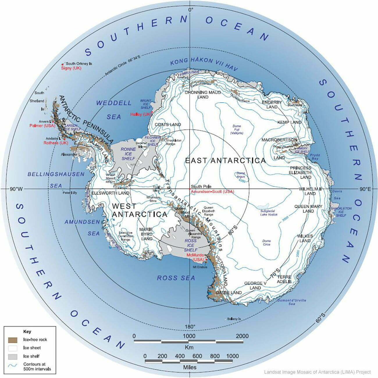 mapa da Antártica