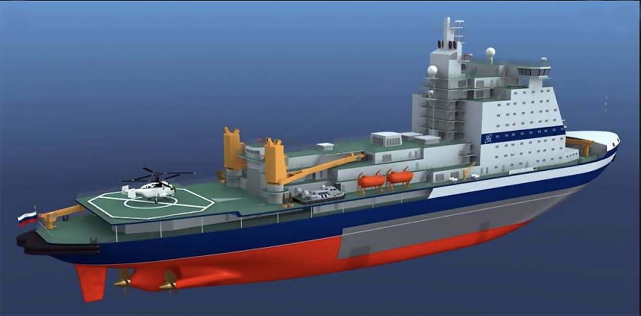 Ilustração do navio quebra-gelo Artika