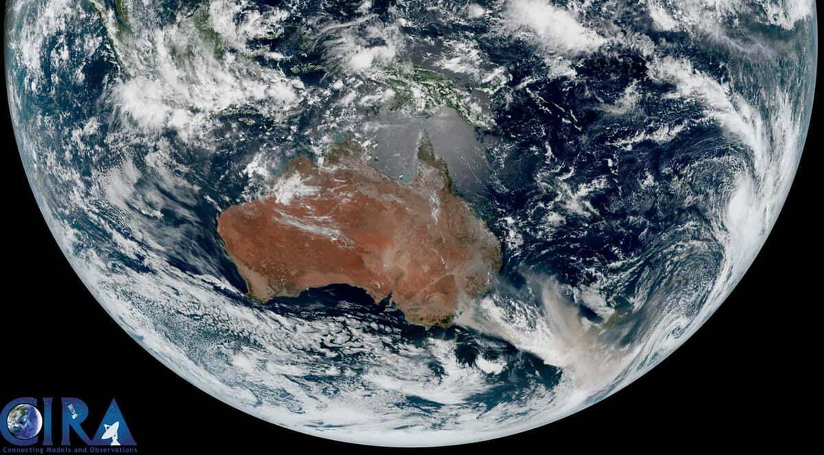 imagem de satélite mostra Austrália em chamas