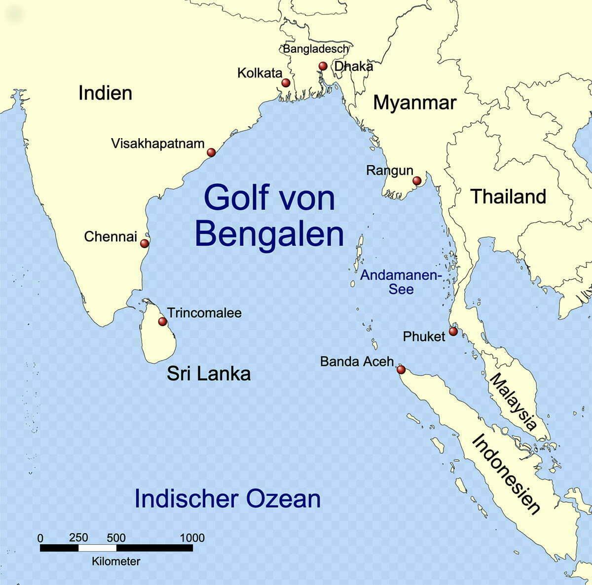 mapa da baía de Bengala