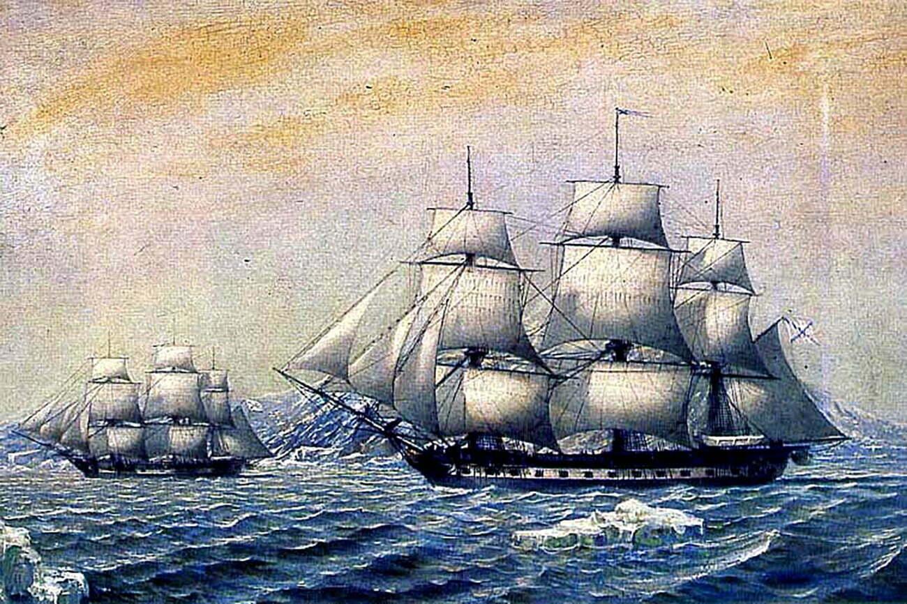Pintura dos navios de Bellingshausen