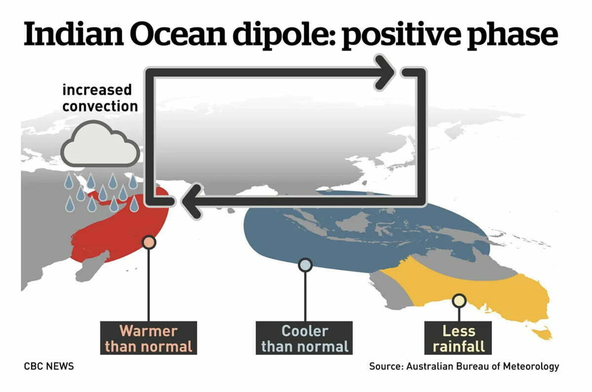 infográfico explica dipolo positivo do Oceano Índico