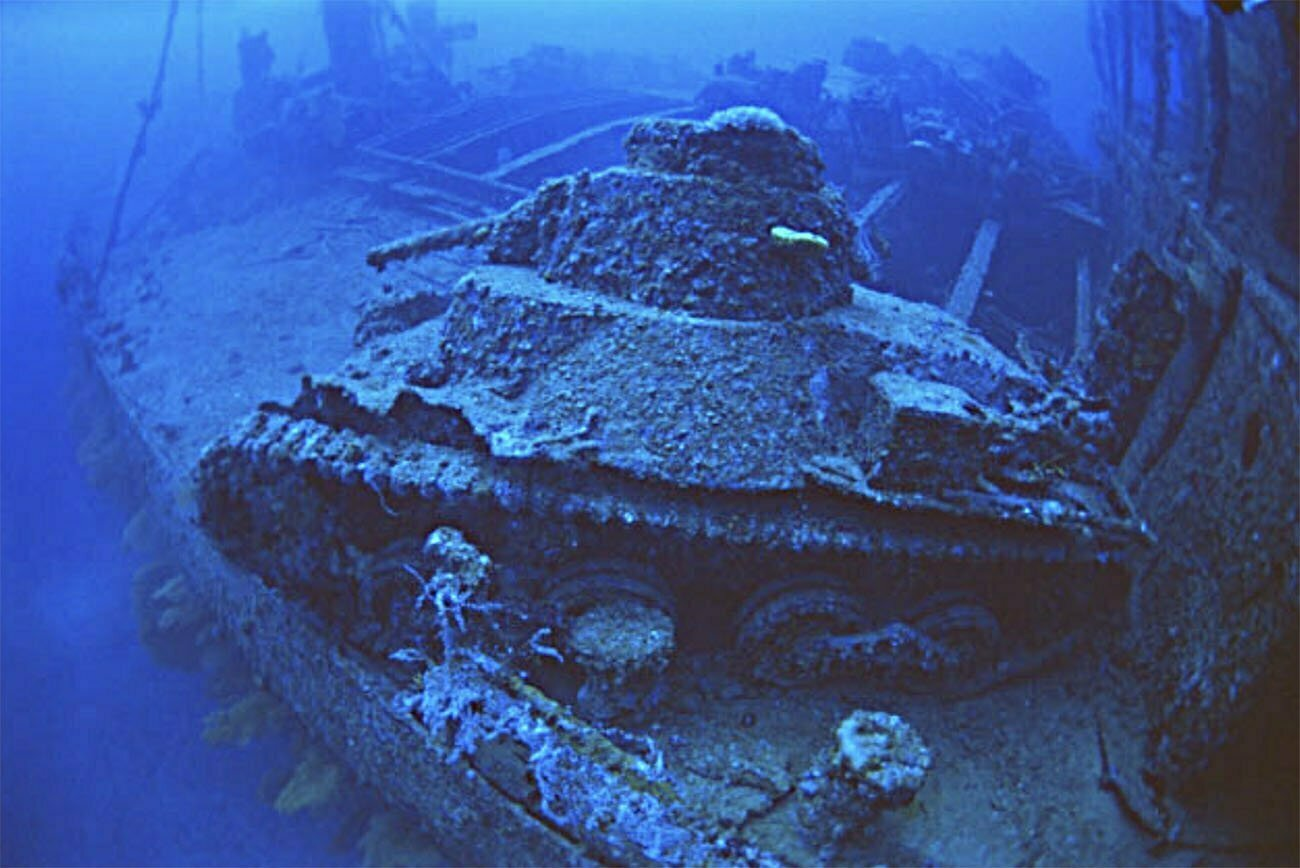 imagem de naufrágio da segunda guerra em Palau