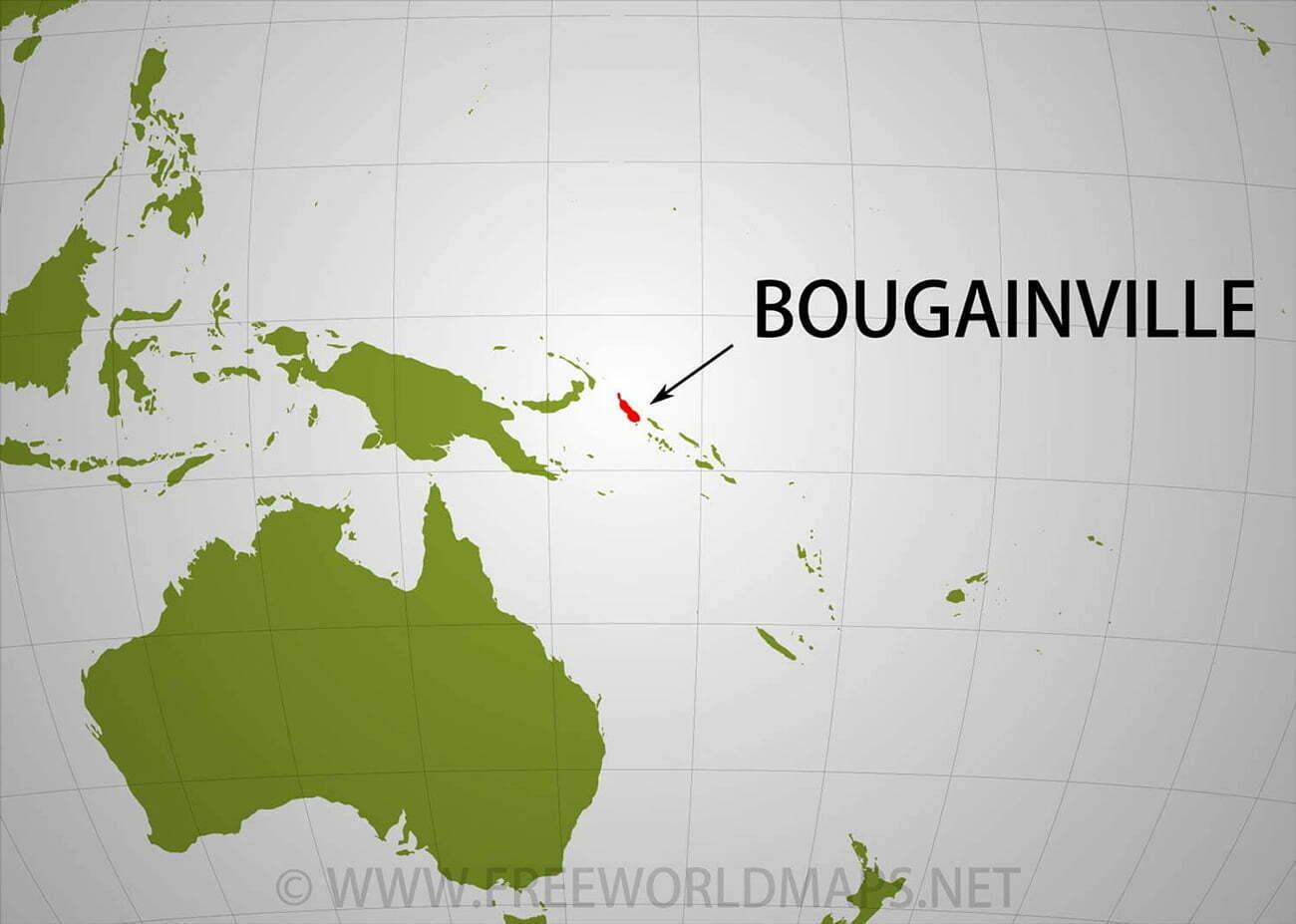 mapa mostra localização do Arquipélago de Bougainville