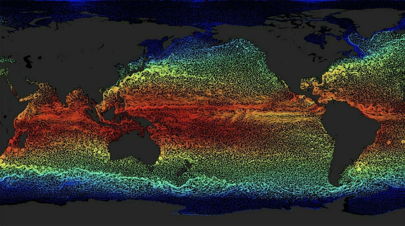 infográfico mostra correntes oceânicas
