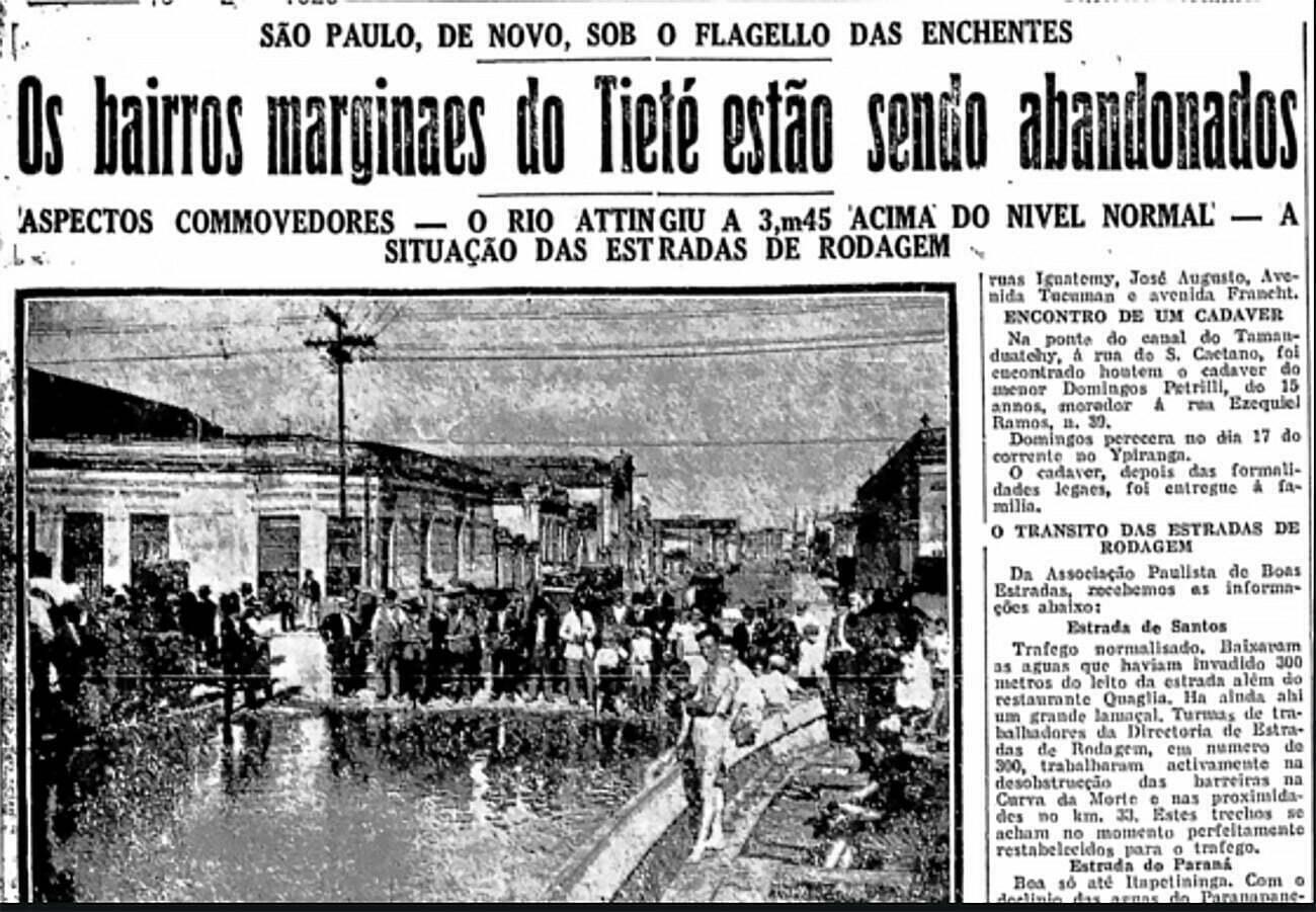 página de jornal de 1929 mostrando maior enchente de São Paulo